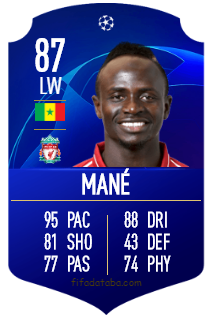 Sadio Mané FIFA 19 Rating, Card, Price