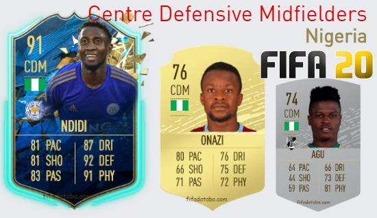 Nigeria Best Centre Defensive Midfielders fifa 2020
